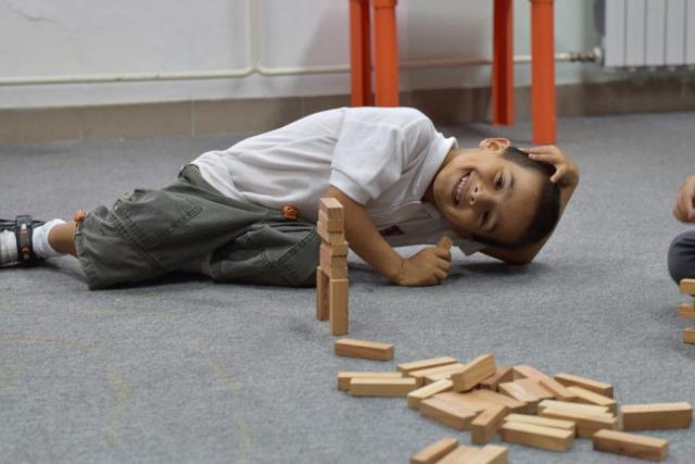 Child playing with blocks at the Egipatsko Selo children's home, Mostar, Bosnia and Herzegovina.