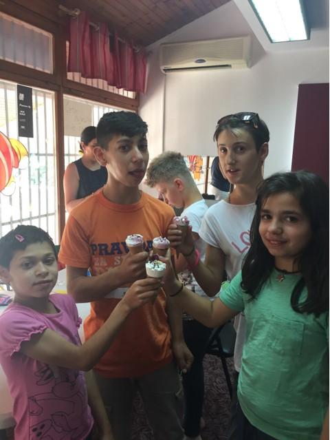 Children at Egipatsko Selo children's home, eating ice cream.