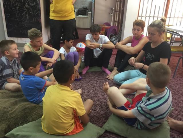 Our Kids Foundation volunteers working with children at Egipatsko Selo children's home, Mostar.