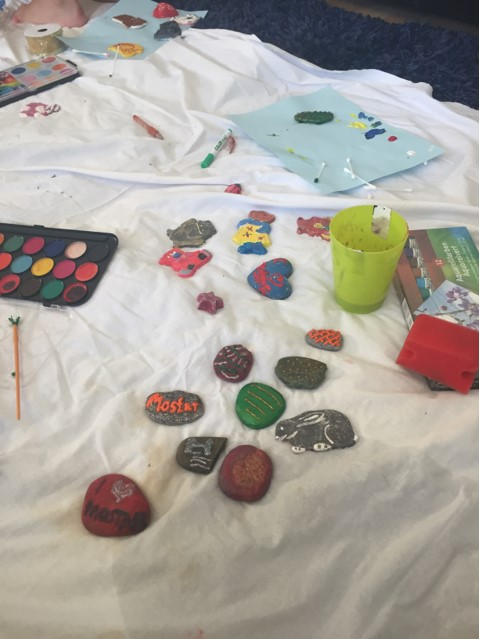 Colorful stone decorations painted by children at the Egipatsko Selo children's home, Mostar.