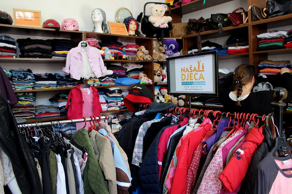 Friends second-hand clothes shop run by Our Kids Foundation, Mostar.
