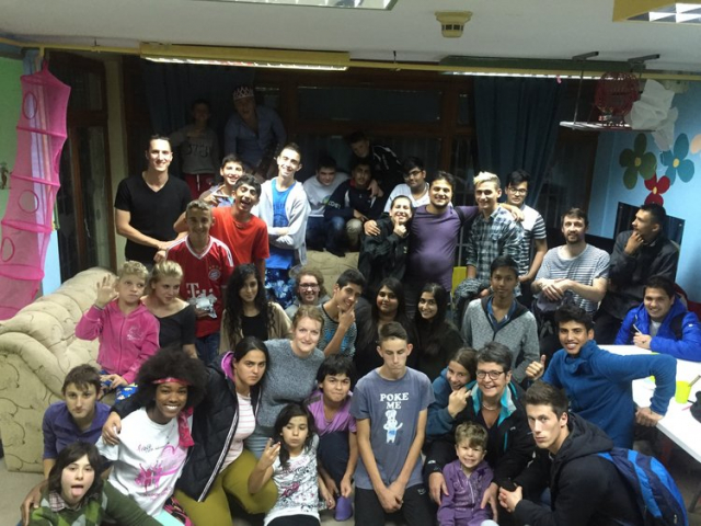Students from Heathland School, UK, with beneficiaries, staff and volunteers from Our Kids Foundation projects, Mostar.