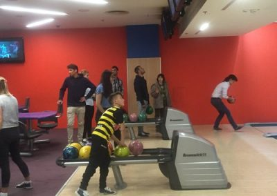 Students from Heathland School UK organise a trip to the bowling alley for children from the Egipatsko Selo children's home, Mostar.