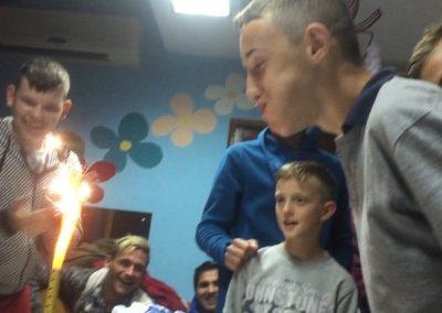 Students from Heathland School UK help to celebrate children's birthdays at the Children's Home, Mostar.