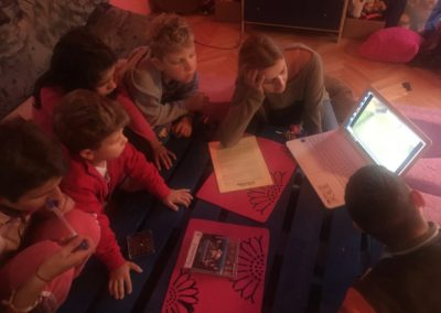 Children watching music videos on laptops donated by HERO World Support