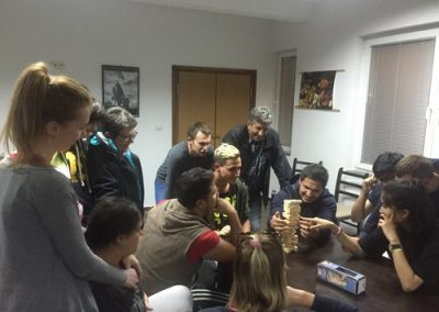 Students from Heathland School UK, playing games with beneficiaries of Our Kids Foundation Residential Program for care leavers.