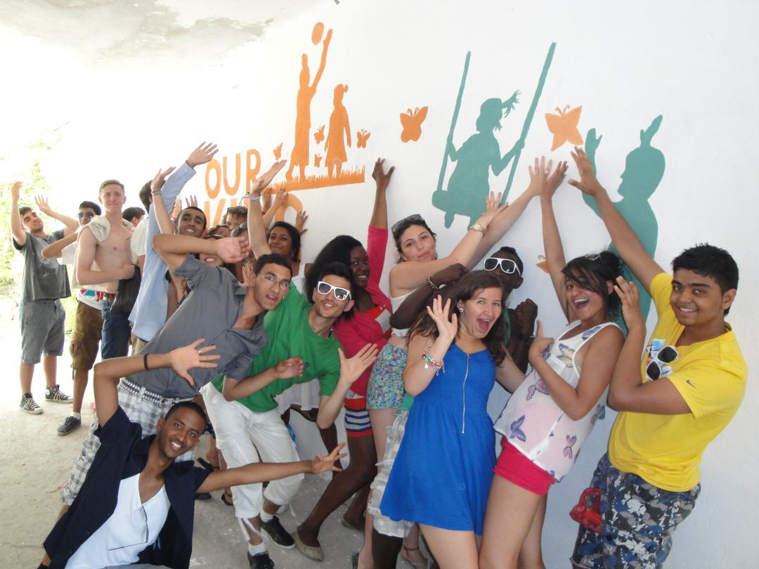 Students from UK, painted a mural at the Our Kids Foundation home for disabled adults in Mostar.