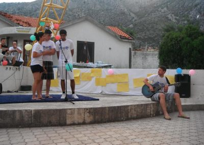 Students from the UK holding a talent show at the Egipatsko Selo children's home, Mostar.